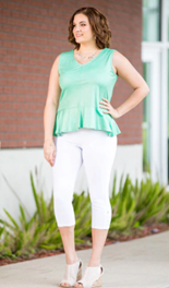 GIFT TO YOURSELF SLEEVELESS TOP - MINT FAUX LEATHER